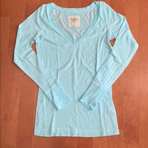 abercrombie and fitch long sleeved blue shirt. med